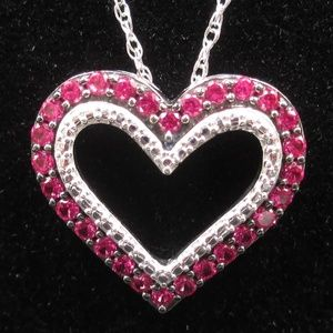 """Jewelry - Vintage 17"""" Sterling Silver Ruby Heart Necklace"""